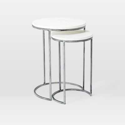 Round Nesting Side Tables Set - Marble/Antique Nickel - West Elm