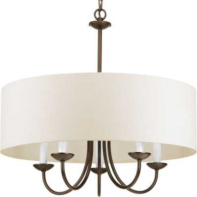 Progress Lighting 5-Light Antique Bronze Chandelier with Beige Linen Shade - Home Depot