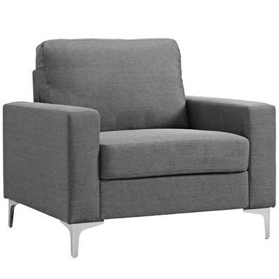ALLURE UPHOLSTERED ARMCHAIR IN GRAY - Modway Furniture