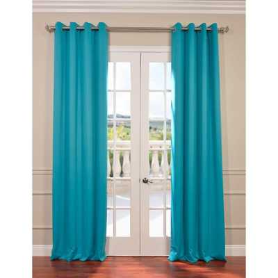 Exclusive Fabrics & Furnishings Semi-Opaque Turquoise Dot Blackout Curtain - 50 in. W x 120 in. L (Pair) - Home Depot