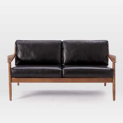 "Mathias Mid-Century Wood Frame Leather Loveseat (66"") - West Elm"