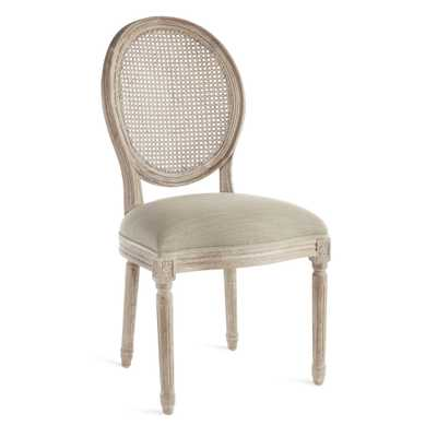 LOUIS CANE BACK SIDE CHAIR, LINEN NATURAL - Wisteria