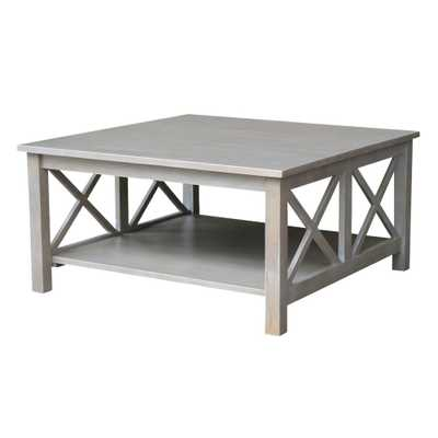 Hampton Weathered Grey Square Coffee Table - Home Depot