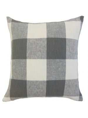 "Amory Plaid Pillow Coal, 18"" x 18""-Polyester Insert - Linen & Seam"