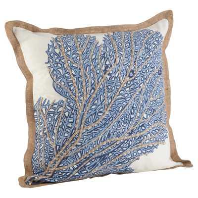 Navy Blue Sea Fan Coral Print Cotton Throw Pillow - Target