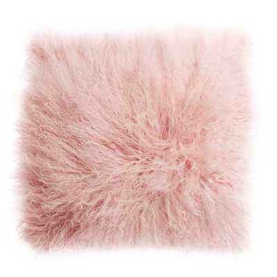 """16"""" mongolian sheepskin pink  pillow with down-alternative insert - CB2"""