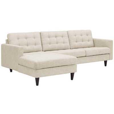 Empress Left-Facing Upholstered Sectional Sofa in Beige - Modway Furniture