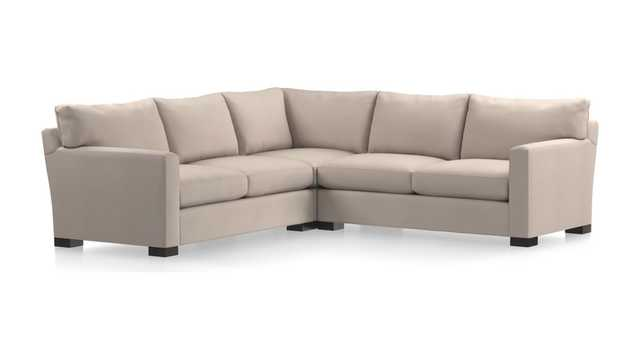 Axis II 3-Piece Sectional Sofa - Douglas, Ice - Leg fossil - Crate and Barrel