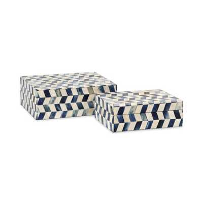 Essentials Marine Blue Bone Boxes - Set of 2 - Mercer Collection