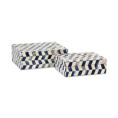 Essentials Marine Blue Bone Boxes - Set of 2 - Mercer Collection