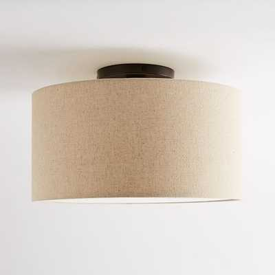 Fabric Shade Flush Mount, Flush Drum, Natural Linen - West Elm