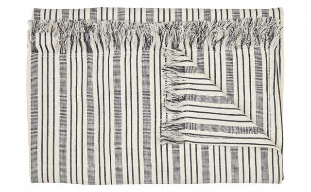 Fringe Throw - Black/Off-White - Jayson Home