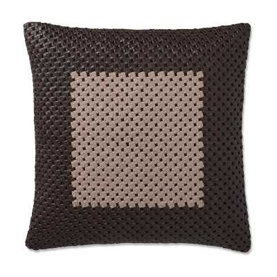 "Two Tone Knotted Leather Pillow Cover, 20"" X 20"", Wine - Williams Sonoma"