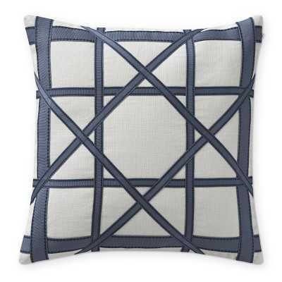 "Linen Geo Pillow Cover, 18"" X 18"", Navy - Williams Sonoma"