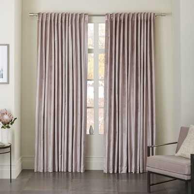 Cotton Luster Velvet Curtain - Dusty Blush - Blackout Lining - West Elm
