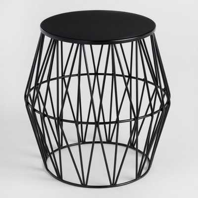 Black Octavia Faceted Outdoor Stool - World Market/Cost Plus