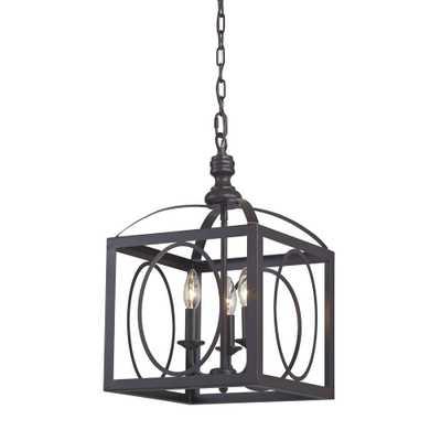 Ringed 3-Light Aged Bronze Cluster Lantern - Rosen Studio