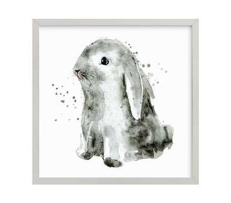 "Bunny 1 Wall Art By Minted® - 16"" x 16"" - Gray - Pottery Barn Kids"