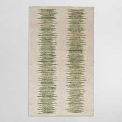 Green And Ivory Double Ikat Kiran Indoor Outdoor Rug - World Market/Cost Plus