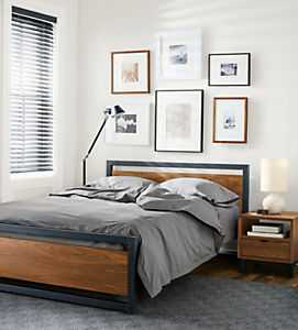 Piper Wood Panel Bed in Natural Steel-Queen - Room & Board