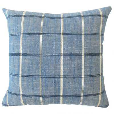 Hajnal Plaid Pillow Indigo, with Down Insert - Linen & Seam