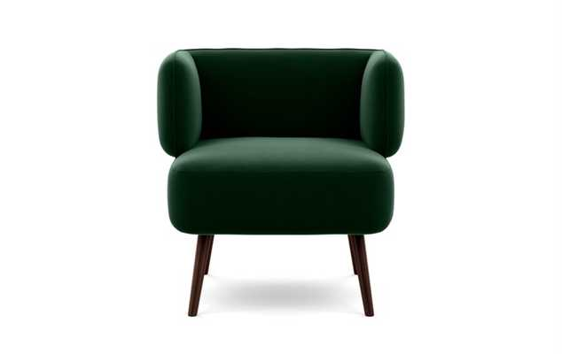 Parker Accent Chair- Emerald Mod Velvet-Oiled Walnut Tall Wood Tapered - Interior Define