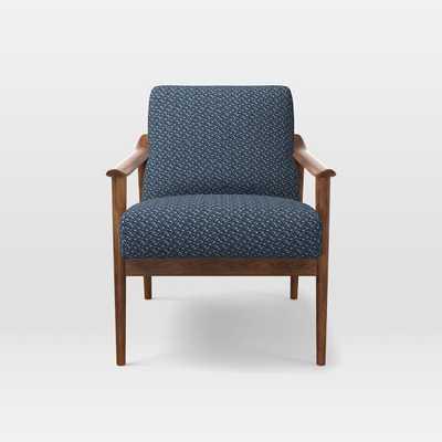 Mid-Century Show Wood Chair, Morse Blue Multi - West Elm