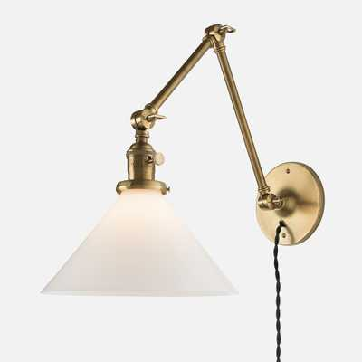 """Princeton Long Plug-In Sconce 2.25"""" - Natural Brass, Khaki Twisted Cord - Schoolhouse Electric"""