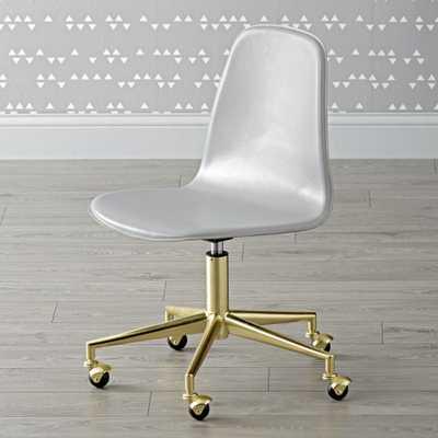 Kids Class Act Light Grey & Gold Desk Chair - Crate and Barrel