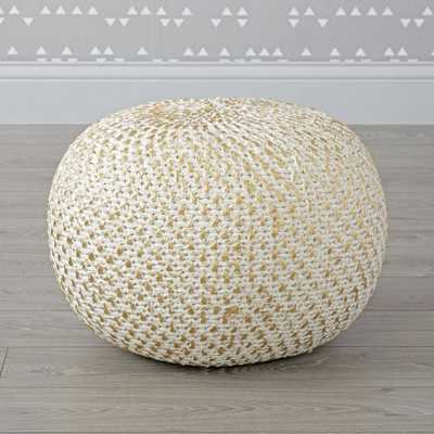 Knit Gold Pouf - Crate and Barrel