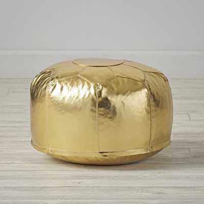 Mini Faux Leather Gold Pouf - Crate and Barrel