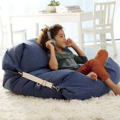 Adjustable Blue Bean Bag Chair - Crate and Barrel