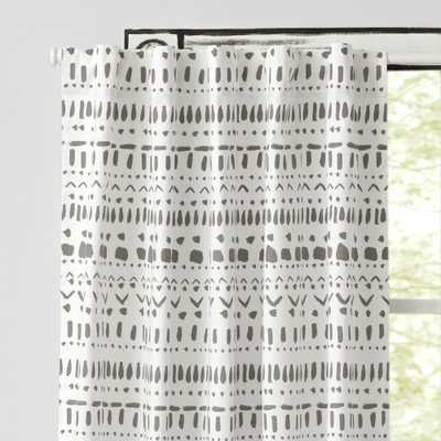 """Organic Wild Excursion 63"""" Grey Curtain - Crate and Barrel"""