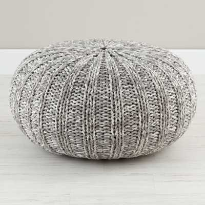Variegated Grey Pouf - Crate and Barrel