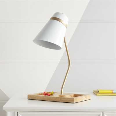 White Organizer Desk Lamp - Crate and Barrel