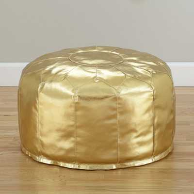 Faux Leather Gold Pouf-Standard size - Crate and Barrel