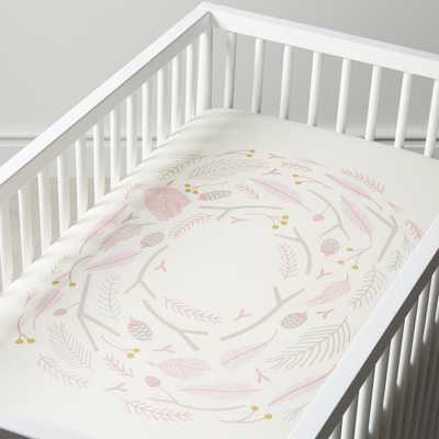 Organic Woodland Pink Nest Crib Fitted Sheet - Crate and Barrel