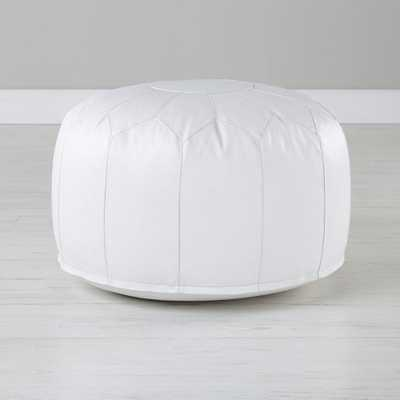 Faux Leather White Pouf - Crate and Barrel