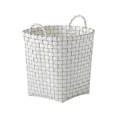 Strapping White Floor Basket - Crate and Barrel