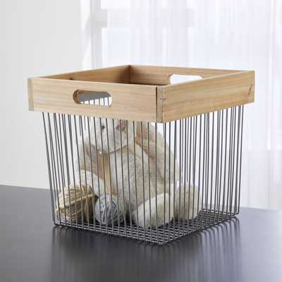 Wood and Wire Grey Cube Bin - Crate and Barrel