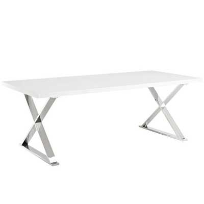 Sector Dining Table in White Silver - Modway Furniture