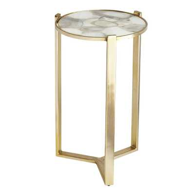 Agate and Brushed Brass Side Table - Wisteria