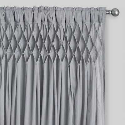 Gray Cotton Smocked Sleeve Top Curtains Set Of 2 - World Market/Cost Plus