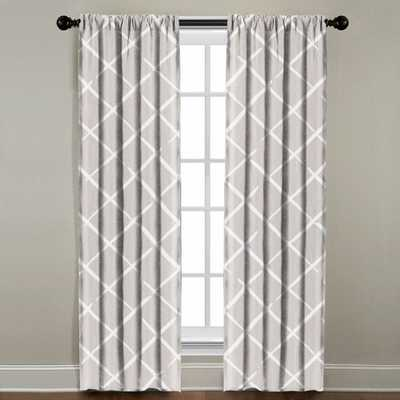 "WHITE CROSSHATCH WINDOW PANEL - 108"" - Linen & Seam"