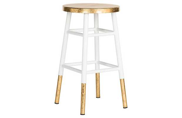 Lacie Counter Stool, White/Gold - One Kings Lane
