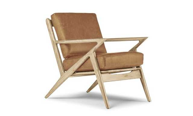 Brown Soto Mid Century Modern Leather Chair - Colonade Sycamore - Maple - Joybird