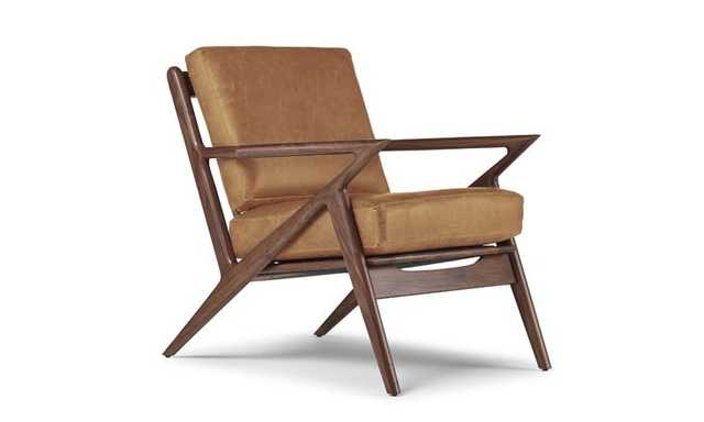 Brown Soto Mid Century Modern Leather Chair - Colonade Sycamore - Walnut - Joybird
