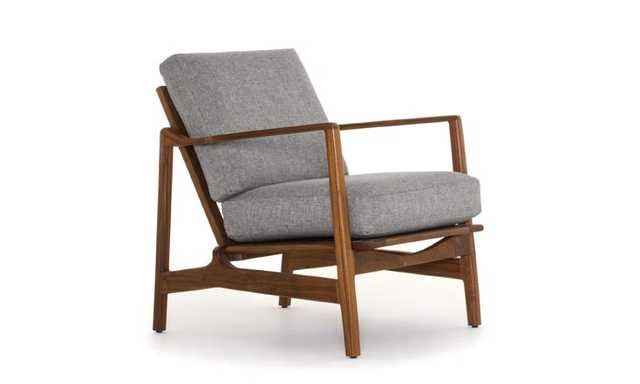 Gray Graham Mid Century Modern Chair - Taylor Felt Grey - Walnut - Joybird