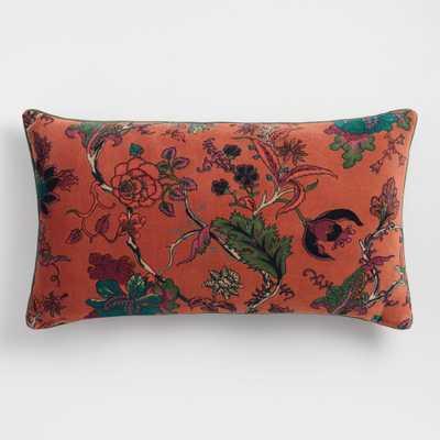 Rust Floral Velvet Lumbar Pillow: Orange/Multi by World Market - World Market/Cost Plus