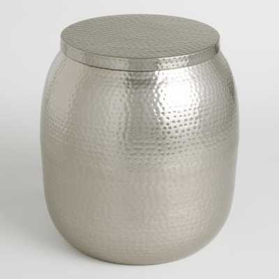 Cala Hammered Drum Table: Silver - Metal by World Market - World Market/Cost Plus